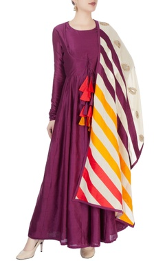 Wine anarkali with tassels