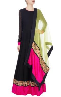 Black & green kurta set with dori work