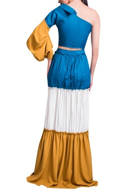 Blue & mustard yellow top & layered skirt