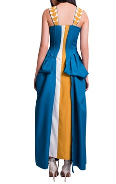 Blue, mustard & white maxi dress