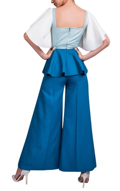 Powder blue peplum top & teal blue pants