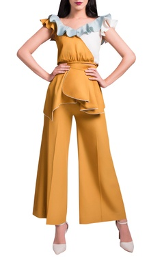 Mustard & powder blue pant set