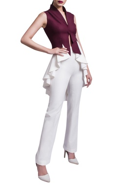 Wine & white jacket & trousers