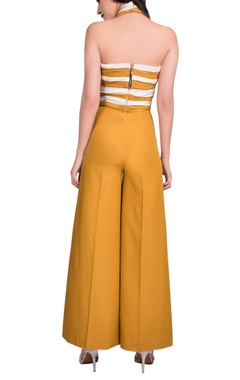 Mustard yellow & white halter jumpsuit