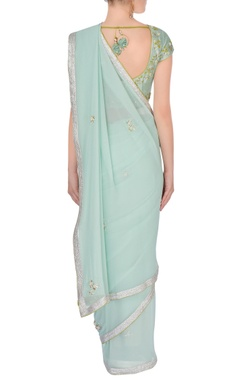 blue embroidered sari with blouse