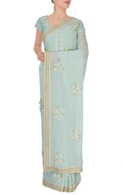 Sky blue embroidered sari with blouse