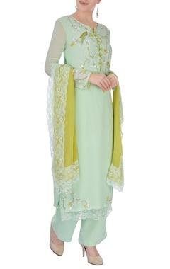 Pista green embroidered kurta set