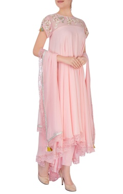Pink embroidered anarkali set