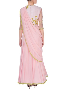 Pastel pink embroidered anarkali set