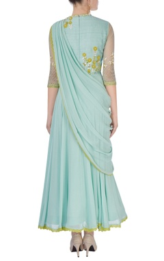 Aqua green embroidered anarkali set