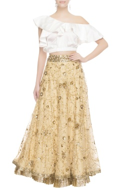 Seema Khan Gold lehenga & white frill blouse