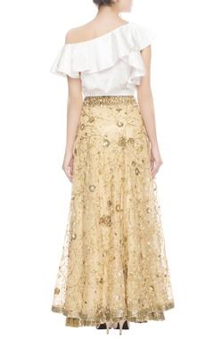 gold lehenga & white frill blouse