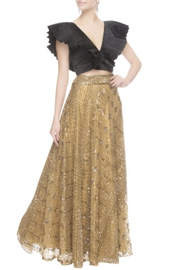 Seema Khan Gold sequin embroidered lehenga