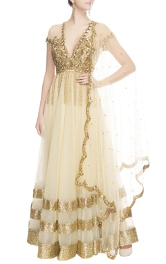 Seema Khan Gold & beige sequin embroidered anarkali