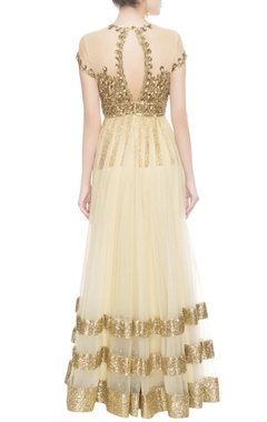 Gold & beige sequin embroidered anarkali