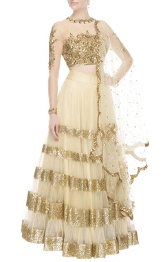 Seema Khan Gold & beige tiered style lehenga