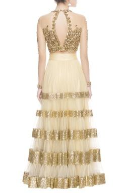 gold & beige tiered style lehenga