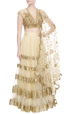 Seema Khan Gold & beige cutdana embroidered lehenga