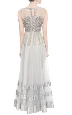 Silver anarkali gown with dupatta