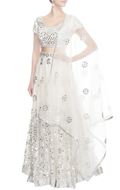 Seema Khan White lehenga with silver sequin work