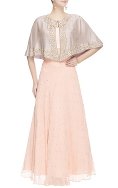 Peach embroidered lehenga with cape