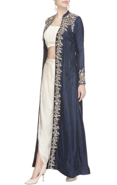 White dhoti set with embroidered blue jacket