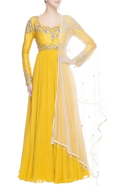 Canary yellow anarkali with metal embroidery
