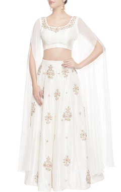 white floral embroidered lehenga