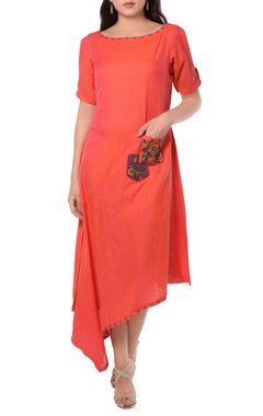 orange asymmetric tunic dress