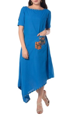 blue asymmetric tunic  with embroidery