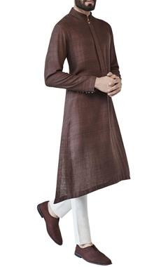 brown asymmetric style kurta