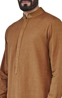 brown kurta with side panel
