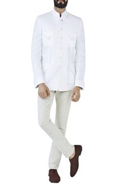 white linen dobby bandhgala