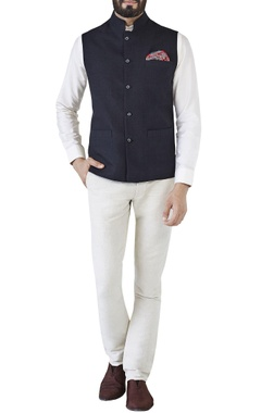 Black Nehru jacket with miniature buttons