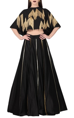 Black striped chanderi lehenga