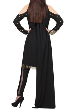 Black & gold embellished kurta set