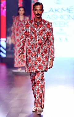Red snake & floral print trousers