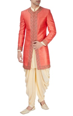 Rust orange aari work sherwani