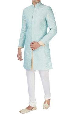 Aqua blue machine embroidered sherwani set
