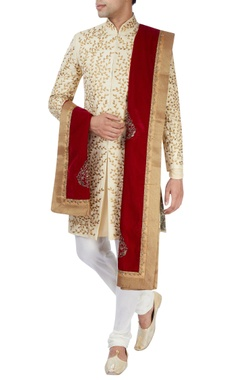 Beige machine embroidered sherwani set
