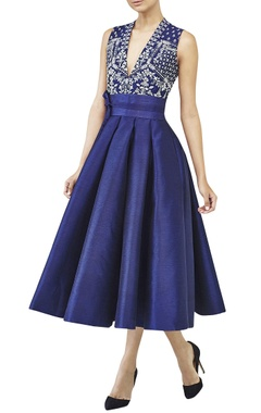 Anita Dongre Navy blue embroidered midi dress