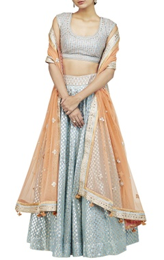 Powder blue & orange lehenga set
