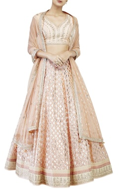 Peach brocade lehenga set