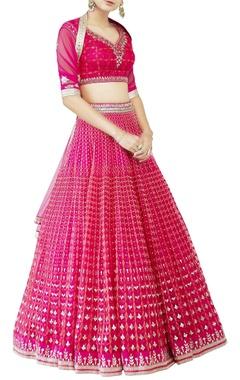 Pink studded lehenga set