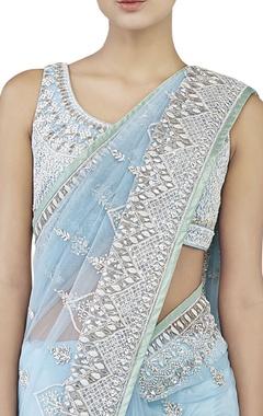 powder blue embroidered sari & choli
