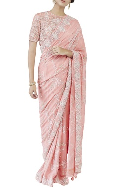 Peach embroidered sari & choli