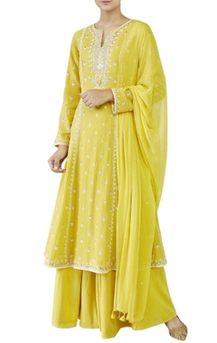 Yellow kurta with sharara & dupatta