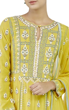 yellow embroidered suit