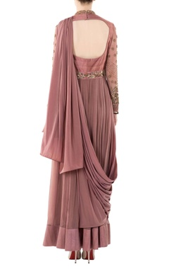 Peach sari gown with one shoulder drape