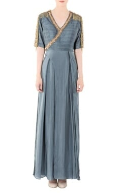 Dusky grey jumpsuit with pearl and nalki handwork